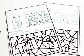 Free printable color by number worksheets for kindergarten. Numbers five and six counting worksheets.