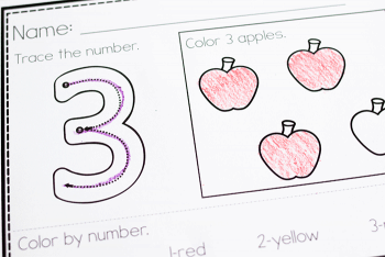 Free printable color by number worksheets for preschool. Trace the number and count the correct number of objects in the array.