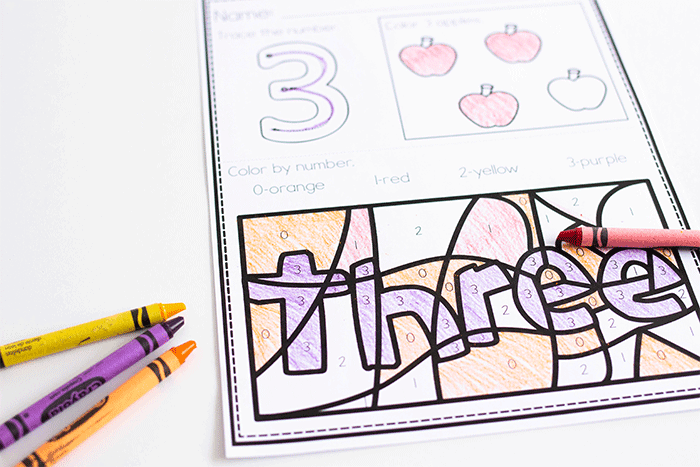 Free printable counting worksheets for kindergarten. Color the correct numbers in the color by number worksheet to show the number word.