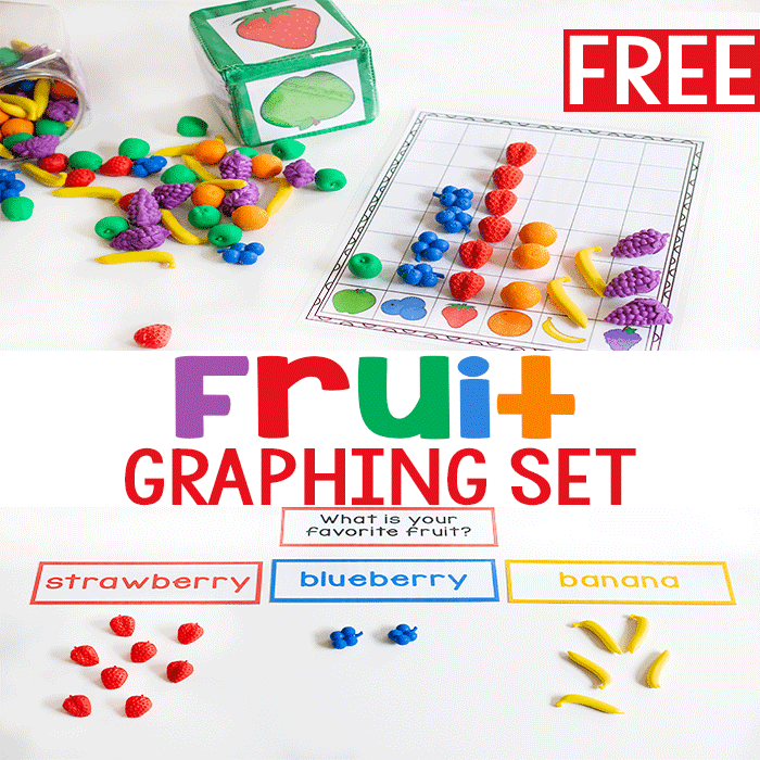 Free printable fruit themed graphing activity for kindergarten.