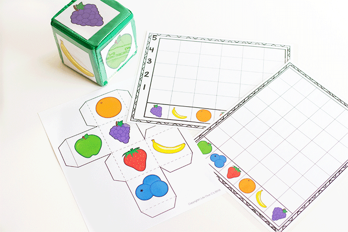 Free printable fruit graphing activities for preschoolers.