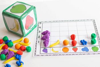 Free printable fruit graphing activities for preschoolers.