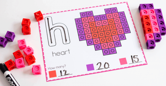 Valentine snap cube counting activity for kindergarten.