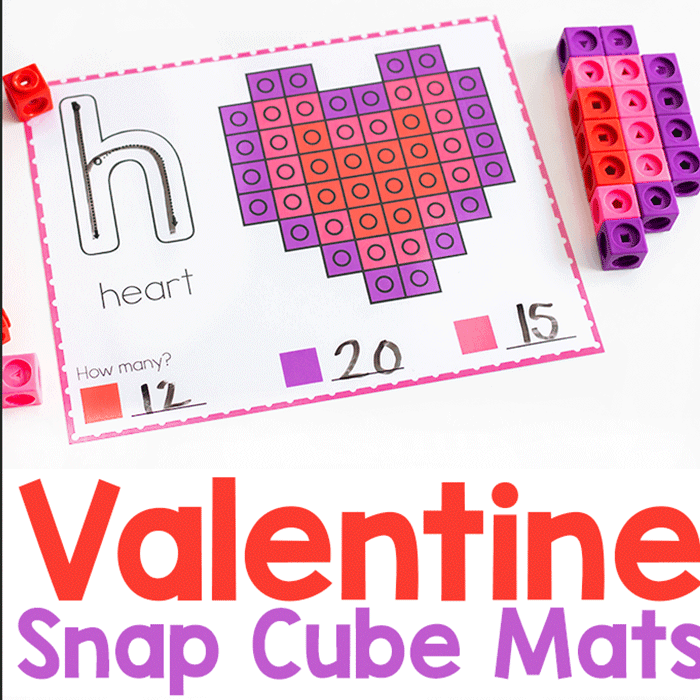 Free printable snap cube Valentine Fine Motor Mats for kindergarten. Practice counting and letter formation.