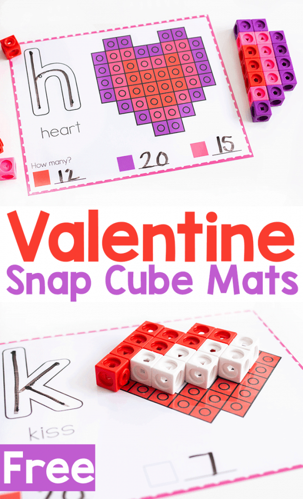 Free printable Valentine Snap Cube fine motor mats for building Valentine pictures.