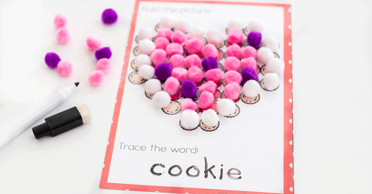 These Valentine pom pom fine motor activities are great for any Valentine's Day theme.