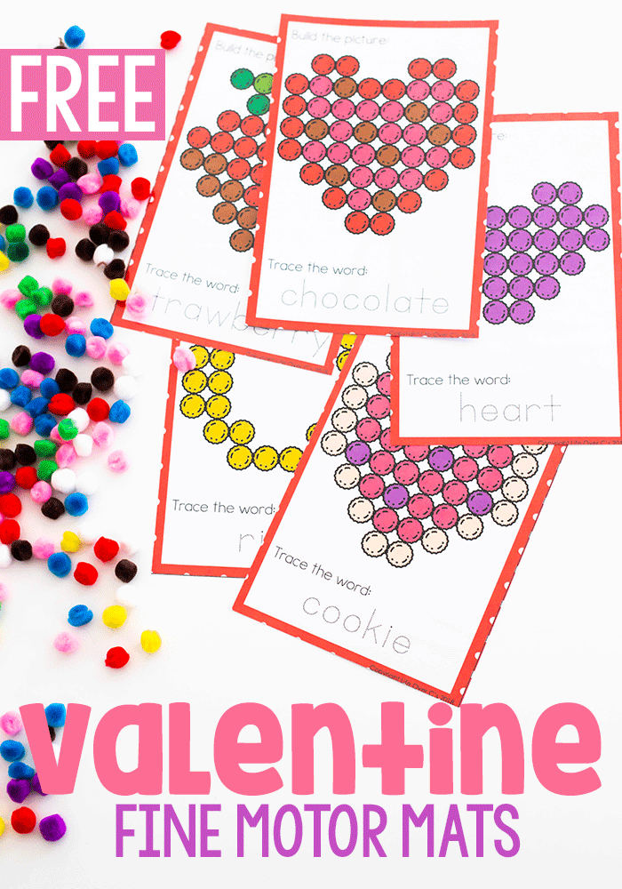 Free printable Valentine fine motor mats for preschool.