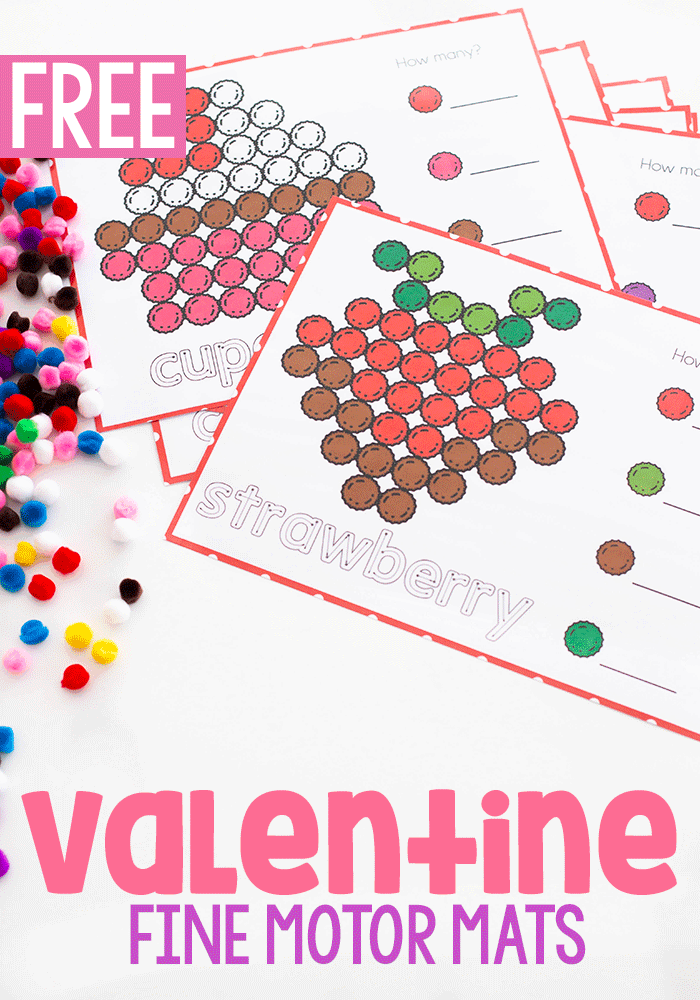 Combine math, literacy and fine motor with these free printable Valentine fine motor activities for preschool.