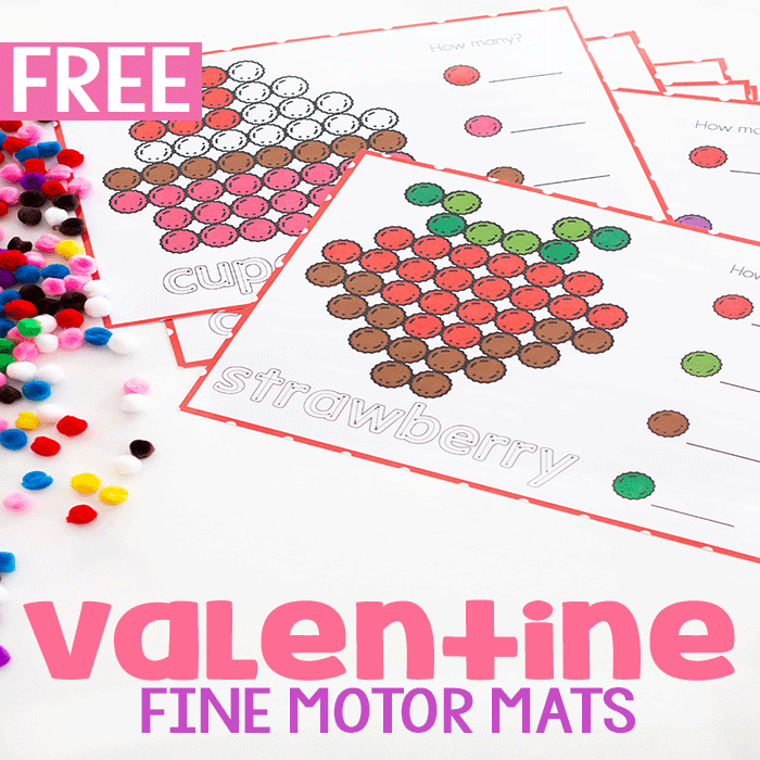 Preschoolers love these Valentine fine motor pom pom mats with tracing and counting.