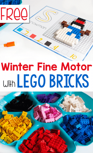 Grab your LEGO for this free printable winter fine motor activity with LEGO bricks.