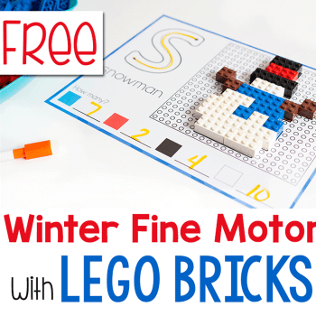 Free printable winter fine motor mats with LEGO bricks.