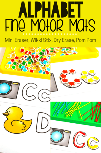 Fine motor skills are fun to work on with these free printable alphabet cards with alphabet outlines. Use mini erasers and other fine motor manipulatives to form letters of the alphabet