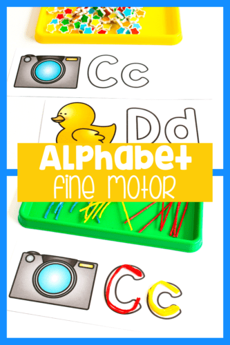 Use Wikki Stix, mini erasers, pom poms, dry erase markers and more with these fine motor alphabet activities for preschool literacy centers.