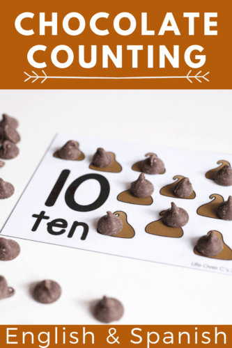 Count to 10 with chocolate chips using these free printable chocolate chip counting cards for preschool and kindergarten math centers.