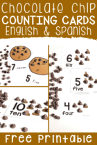Free Printable Chocolate Chip Counting cards for preschool math centers.