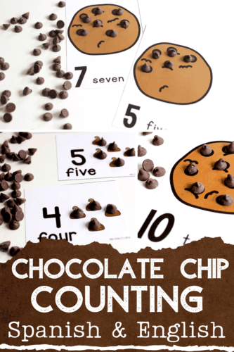 Grab these free printable chocolate chip counting cards for your preschoolers and have a blast counting to 10 with chocolate chips!