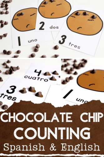 Spanish counting cards in a fun chocolate chip theme! Free printable Spanish counting activity for kindergarten.