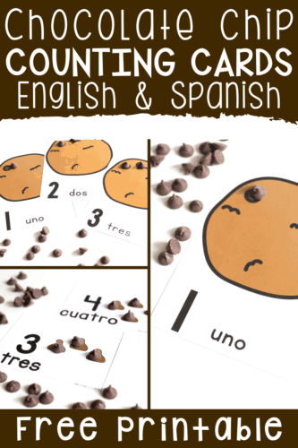 Fun chocolate chip counting activity with counting cards for preschool.