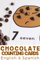 Grab these free printable chocolate chip counting cards to use in your preschool math centers or for your kindergarten math activities.