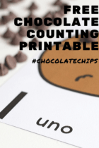 Spanish counting cards for counting to 10 with a fun chocolate chip theme.