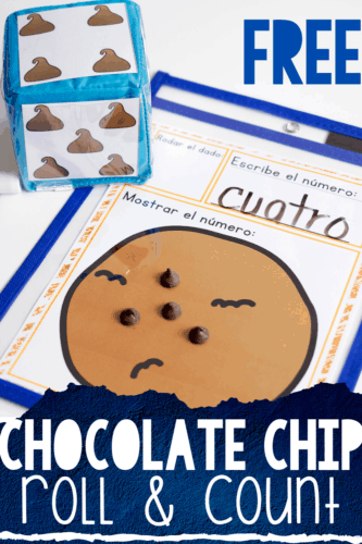 All the kids will love counting with this free printable dice game for counting. The engaging chocolate chip cookie theme is perfect for your preschool, pre-k and kindergarten math centers