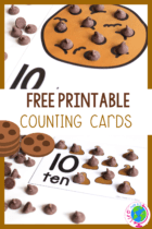 Have fun counting to 10 with chocolate chips and these fun chocolate chip counting cards