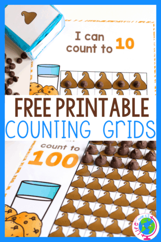 This free printable chocolate chip activity is a fun way for preschool, prek, and kindergarten age kids to practice counting 1-10, 20 and 100.