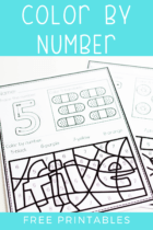No-prep set of free printable Coloring by Number Worksheets is perfect for practicing number recognition for numbers 1-10 with your preschool, pre-k and kindergarten students.