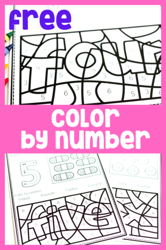 Your students will have fun coloring these Color by Number pictures! These free color by number printables are perfect for reviewing numbers 1-10 in kindergarten!