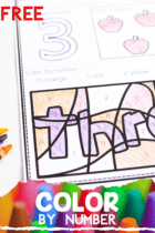 FREE Print & Go Color by Number Worksheets to help preschool and kindergarten age kids practice number recognition with numbers 1-10.