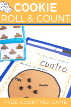 This fun dice game for preschoolers is a great counting activity for your math centers! Grab some mini chocolate chip cookies and practice counting!