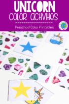 Unicorn color activities for preschool. Play dough, sorting, games and more activities for learning about colors.