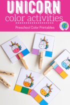Play games and use play dough to learn about colors with a fun unicorn theme.