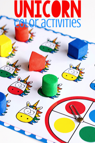 Printable color activities for preschool. Play games and use play dough to learn about colors with a fun unicorn theme.