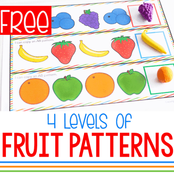 Free printable AB fruit themed patterns for preschool and kindergarten math centers.