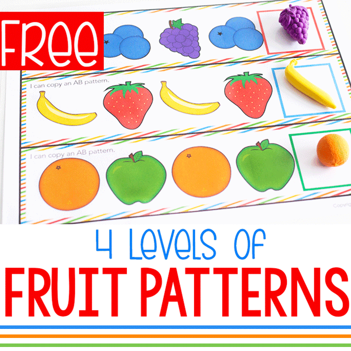 Free Printable Fruit Themed Pattern Activity