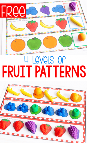 Free printable fruit themed pattern worksheets for AB, ABB, AAB, and ABC patterns. Math centers
