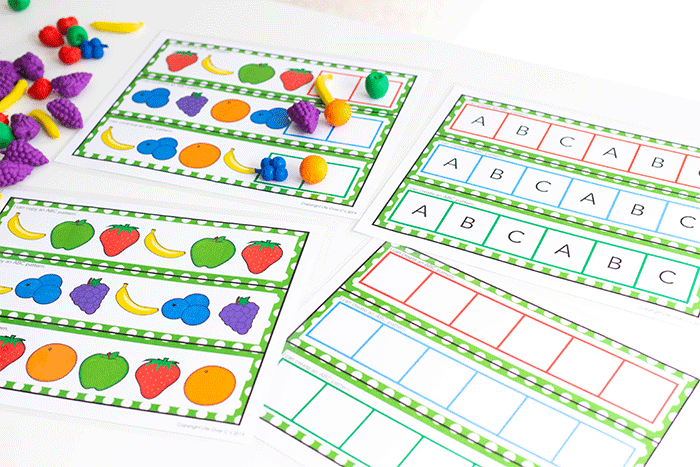 Free printable pattern activity for preschool, kindergarten, and 1st grade. Make ABC patterns with four levels of differentiation.