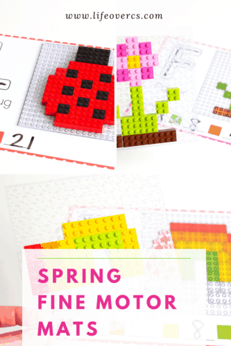 LEGO mosaics are so much fun to build with these free fine motor activity mats for spring.