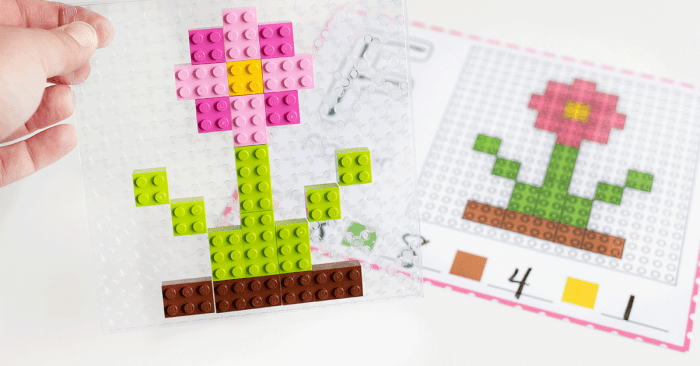 Free printable Spring Fine Motor mats for LEGO bricks. Build a flower picture with LEGO preschool activities