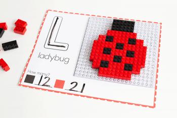 Free printable Spring Fine Motor mats for LEGO bricks. Build a ladybug with LEGO preschool activities