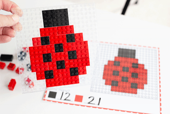 Build a ladybug these free printable Spring fine motor mats for LEGO.