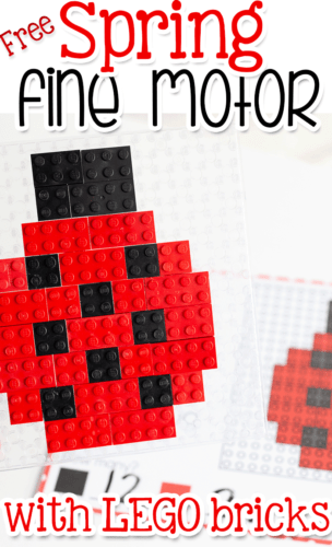 Build a LEGO ladybug with these free fine motor LEGO mosaic activity mats for spring.