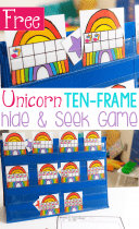 Unicorn and rainbow ten-frame counting game. Hide the star and guess the numbers