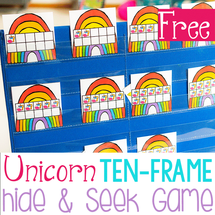Free Printable Unicorn and Rainbows Ten-Frame Game