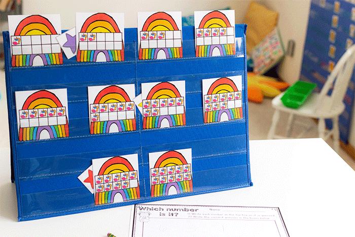 Free printable ten-frame math center for preschool and pre-k