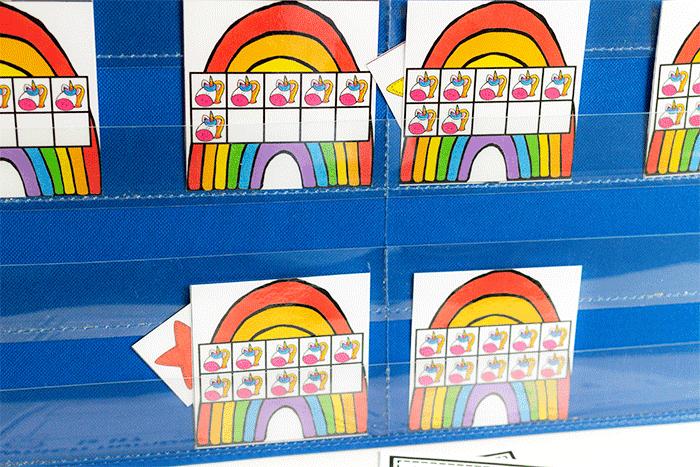 Count to ten unicorn and rainbow counting game for kindergarten math centers.