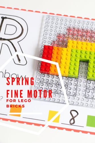 Build a LEGO rainbow mosaic with these free fine motor activity mats for spring.
