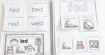 Free printable CVC short vowel rhyming interactive notebook printable for kindergarten