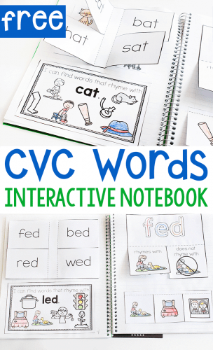 Free printable cvc word short vowel activity for kindergarten. CVC Word interactive notebook printable for kindergarten.